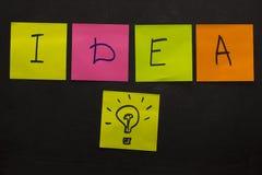 Έννοια επιχειρησιακής δημιουργική ιδέας με τη λάμπα φωτός Ζωηρόχρωμο κολλώδες ν Στοκ εικόνες με δικαίωμα ελεύθερης χρήσης