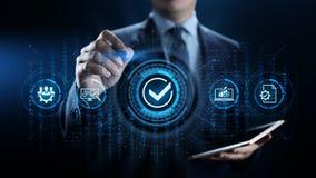 Έννοια επιχειρησιακής τεχνολογίας ελέγχου διαβεβαίωσης ποιοτικών προτύπων ISO στοκ εικόνα