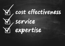 Έννοια επιχειρησιακού υποβάθρου για την αποτελεσματικότητα δαπανών, την υπηρεσία και την πείρα στοκ φωτογραφία