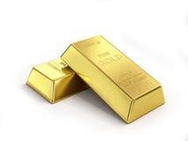 Έννοια επιχειρησιακών οικονομική τραπεζικών εργασιών: σύνολο χρυσών πλινθωμάτων που απομονώνεται Στοκ Εικόνες
