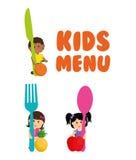 Έννοια επιλογών φρούτων και παιδιών μαχαιροπήρουνων αγοριών κοριτσιών διανυσματική απεικόνιση