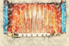 Έννοια, εσωτερικό σκίτσων του παλαιού θεάτρου, το ακροατήριο που περιμένει op Στοκ εικόνα με δικαίωμα ελεύθερης χρήσης