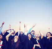 Έννοια ευτυχίας βαθμολόγησης εκπαίδευσης εορτασμού σπουδαστών Στοκ Εικόνα