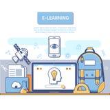 Έννοια ε-εκμάθησης για τη ανάπτυξη εφαρμογών Επίπεδη ζωηρόχρωμη έννοια σχεδίου διανυσματική απεικόνιση
