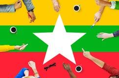 Έννοια ελευθερίας κυβερνητικής ελευθερίας εθνικών σημαιών του Μιανμάρ Στοκ εικόνα με δικαίωμα ελεύθερης χρήσης