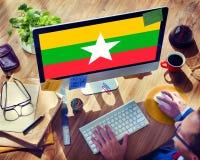 Έννοια ελευθερίας κυβερνητικής ελευθερίας εθνικών σημαιών του Μιανμάρ Στοκ Φωτογραφίες