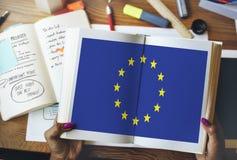 Έννοια ελευθερίας πολιτισμού υπηκοότητας σημαιών χώρας της Ευρωπαϊκής Ένωσης Στοκ Εικόνα