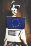 Έννοια ελευθερίας πολιτισμού υπηκοότητας σημαιών χώρας της Ευρωπαϊκής Ένωσης Στοκ Εικόνες