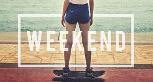 Έννοια ελεύθερου χρόνου ευτυχίας ελεύθερου χρόνου χαλάρωσης Σαββατοκύριακου Στοκ Εικόνες