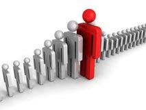 Έννοια ηγεσίας με τον κόκκινο μεγάλο ανθρώπινο αριθμό εικονιδίων Στοκ Εικόνα
