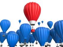 Έννοια ηγεσίας με το κόκκινο - μπαλόνι ζεστού αέρα Στοκ Φωτογραφίες