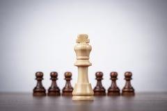 Έννοια ηγεσίας σκακιού πέρα από το γκρίζο υπόβαθρο Στοκ φωτογραφία με δικαίωμα ελεύθερης χρήσης