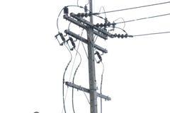 Έννοια ηλεκτρικής ενέργειας: Ηλεκτρική θέση, καλώδια ηλεκτροφόρων καλωδίων και μονωτές στοκ φωτογραφία με δικαίωμα ελεύθερης χρήσης