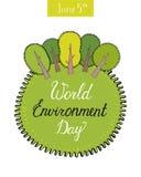 Έννοια ημέρας παγκόσμιου περιβάλλοντος με τα δέντρα Πράσινη γη Eco επίσης corel σύρετε το διάνυσμα απεικόνισης Στοκ εικόνα με δικαίωμα ελεύθερης χρήσης