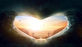 Έννοια ημέρας παγκόσμιων καρδιών: Καρδιά-διαμορφωμένος κενός τάφος του Ιησούς Χριστού στοκ φωτογραφία