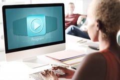 Έννοια ημερήσιων διατάξεων εφαρμογής τεχνολογίας σχεδίου προγράμματος Στοκ Φωτογραφίες