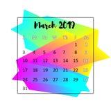 2019 έννοια ημερολογιακού σχεδίου Το Μάρτιο του 2019 ελεύθερη απεικόνιση δικαιώματος
