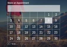 Έννοια ημερομηνίας σημειώσεων προτεραιότητας ημερολογιακών υπενθυμίσεων Στοκ Εικόνα