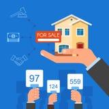 Έννοια δημοπρασίας και προσφοράς διανυσματική απεικόνιση στο επίπεδο σχέδιο ύφους πώληση σπιτιών απεικόνιση αποθεμάτων
