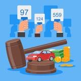 Έννοια δημοπρασίας και προσφοράς διανυσματική απεικόνιση στο επίπεδο σχέδιο ύφους Πωλώντας αυτοκίνητο απεικόνιση αποθεμάτων
