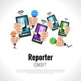 Έννοια δημοσιογράφων δημοσιογράφων Στοκ εικόνα με δικαίωμα ελεύθερης χρήσης