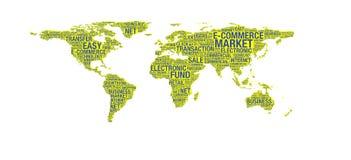 Έννοια ηλεκτρονικού εμπορίου στον παγκόσμιο χάρτη διανυσματική απεικόνιση