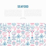 Έννοια θαλασσινών με τα λεπτά εικονίδια γραμμών: αστακός, ψάρια, γαρίδες, Οκτώβριος ελεύθερη απεικόνιση δικαιώματος