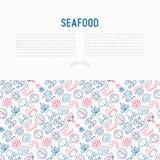 Έννοια θαλασσινών με τα λεπτά εικονίδια γραμμών: αστακός, ψάρια, γαρίδες, Οκτώβριος απεικόνιση αποθεμάτων