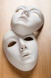 Έννοια θεάτρων - άσπρες μάσκες στοκ φωτογραφίες