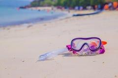 Έννοια θερινών διακοπών που κολυμπά με αναπνευτήρα στην παραλία Στοκ Εικόνα