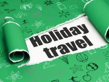 Έννοια διακοπών: μαύρο ταξίδι με σκοπό τις διακοπές κειμένων στο πλαίσιο του κομματιού του σχισμένου χαρτί Στοκ εικόνα με δικαίωμα ελεύθερης χρήσης