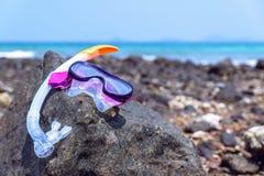 έννοια διακοπών που κολυμπά με αναπνευτήρα στην πέτρα η παραλία Στοκ εικόνα με δικαίωμα ελεύθερης χρήσης