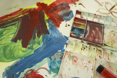 Έννοια διασκέδασης παιχνιδιού παιδιών εκπαίδευσης υδατοχρώματος τέχνης Στοκ Φωτογραφίες
