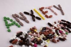 Έννοια ιατρικής φροντίδας έμπνευσης τίτλων κειμένων γραψίματος χεριών που γράφεται με την ανησυχία λέξης καψών φαρμάκων χαπιών απ Στοκ Φωτογραφίες