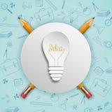Έννοια ιδεών λαμπών φωτός με τα εικονίδια doodles καθορισμένα Στοκ εικόνα με δικαίωμα ελεύθερης χρήσης