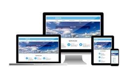 Έννοια ιστοχώρου στο τηλέφωνο ταμπλετών lap-top υπολογιστών στοκ εικόνα