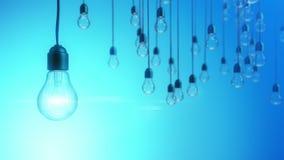 Έννοια ιδέας με τις λάμπες φωτός στο μπλε υπόβαθρο απεικόνιση αποθεμάτων