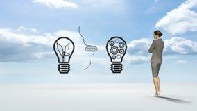 Έννοια ιδέας προσοχής επιχειρηματιών στον ουρανό απόθεμα βίντεο