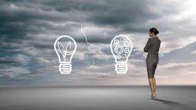 Έννοια ιδέας προσοχής επιχειρηματιών στον ουρανό φιλμ μικρού μήκους