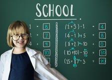 Έννοια διδασκαλίας υπολογισμού μαθηματικών εκπαίδευσης εκμάθησης Στοκ Φωτογραφίες