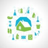 Έννοια καθαρισμού σπιτιών Στοκ Εικόνες