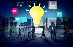 Έννοια καινοτομίας Infographic επιχειρήσεων δημιουργικότητας έμπνευσης ιδεών Στοκ Εικόνες