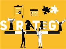 Έννοια και άνθρωποι του Word στρατηγικής που κάνουν τα πράγματα με το σύμβολο σκακιού διανυσματική απεικόνιση