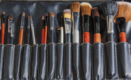 Έννοια και ιδέες ομορφιάς: Επαγγελματικό σύνολο πολλαπλάσιου Makeup PA Στοκ φωτογραφία με δικαίωμα ελεύθερης χρήσης