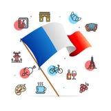 Έννοια και σημαία εικονιδίων γραμμών προτύπων σχεδίου ταξιδιού της Γαλλίας διάνυσμα Στοκ φωτογραφίες με δικαίωμα ελεύθερης χρήσης