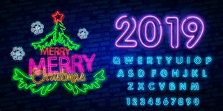 2019 έννοια καλής χρονιάς με τα ζωηρόχρωμα φω'τα νέου Στοιχεία σχεδίου για τις παρουσιάσεις, τα ιπτάμενα, τις κάρτες, τα φυλλάδια απεικόνιση αποθεμάτων