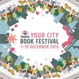 Έννοια καρτών φεστιβάλ βιβλίων Στοκ Φωτογραφίες