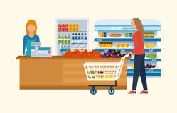 Έννοια καταστημάτων υπεραγορών με την κατάταξη τροφίμων, τις ώρες έναρξης και τις επιλογές πληρωμής, απεικόνιση εικονιδίων παράδο Στοκ Εικόνα