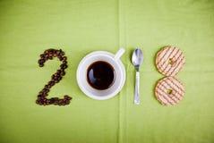 2018 έννοια καφέ στοκ εικόνα