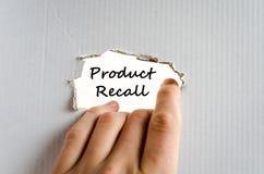 Έννοια κειμένων ανάκλησης προϊόντων Στοκ φωτογραφία με δικαίωμα ελεύθερης χρήσης